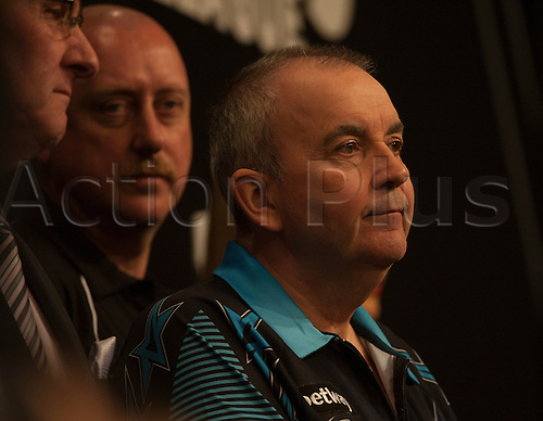 07.04.2016. The Sheffield Arena, Sheffield, England. Betway PDC Premier League Darts. Night 10.  Phil Taylor [ENG] waits on stage for Gary Anderson [SCO].