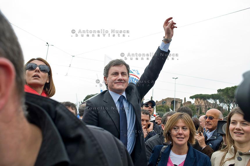 Roma, 20 Marzo, 2010. Gianni Alemanno durante una manifestazione del Popolo della Libert&agrave;<br /> Rome's mayor Gianni Alemanno