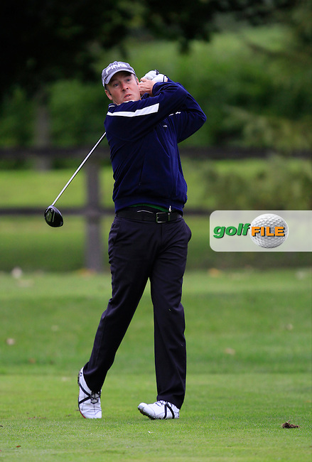 Michael Allan (Pure Golf Leopardstown) on the 3rd tee during Round 4 of The Cassidy Golf 103rd Irish PGA Championship in Roganstown Golf Club on Sunday 13th October 2013.<br /> Picture:  Thos Caffrey / www.golffile.ie