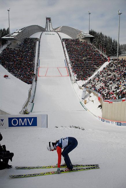 HOLMENKOLLEN, OSLO, NORWAY - March 17: Maja Vtic of Slovenia (SLO) during the Ladies FIS Ski Jumping World Cup from the large hill HS 134 Holmenkollbakken on March 17, 2013 in Oslo, Norway. (Photo by Dirk Markgraf)