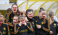 20191107 - Zapresic , BELGIUM : Belgian Tessa Wullaert , Maud Coutereels , Laura Deloose , Laura De Neve and Tine De Caigny pictured with a red nose onduring a Matchday -1 training session before a  female soccer game between the womensoccer teams of  Croatia and the Belgian Red Flames , the third women football game for Belgium in the qualification for the European Championship round in group H for England 2021, Thursday 7 th october 2019 at the NK Inter Zapresic stadium near Zagreb , Croatia .  PHOTO SPORTPIX.BE | DAVID CATRY