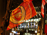 A general view of Arsenal flags on sale outside the stadium during the Premier League match between Arsenal and Huddersfield Town at the Emirates Stadium, London, England on 29 November 2017. Photo by Carlton Myrie / PRiME Media Images.