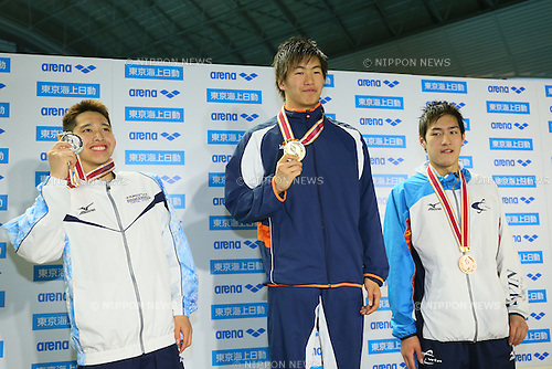 (L to R) <br /> Koichiro Suzuki, <br /> Meguru Hotta, <br /> Ryota Naito, <br /> MARCH 29, 2015 - Swimming : <br /> The 37th JOC Junior Olympic Cup <br /> Men's 50m Backstroke <br /> champion ship award ceremony <br /> at Tatsumi International Swimming Pool, Tokyo, Japan. <br /> (Photo by YUTAKA/AFLO SPORT)