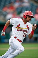 Springfield Cardinals center fielder Oscar Mercado (26) runs to first base during a game against the San Antonio Missions on June 4, 2017 at Hammons Field in Springfield, Missouri.  San Antonio defeated Springfield 6-1.  (Mike Janes/Four Seam Images)