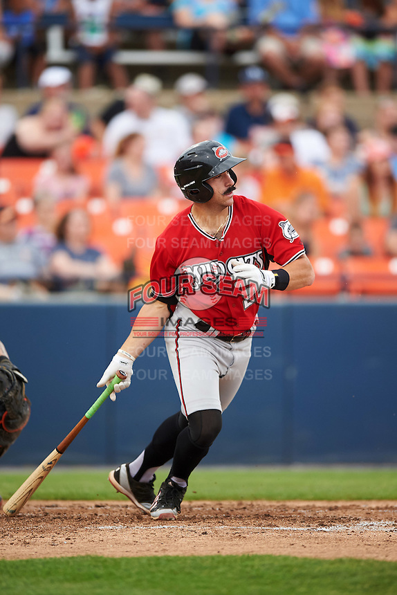 Carolina Mudcats first baseman Sal Giardina (25) at bat during a game against the Frederick Keys on June 4, 2016 at Nymeo Field at Harry Grove Stadium in Frederick, Maryland.  Frederick defeated Carolina 5-4 in eleven innings.  (Mike Janes/Four Seam Images)