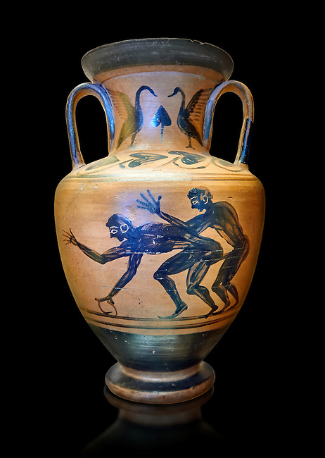Erotic 5th cnetury BC attica style anfora of two men, black against an potrange background, Caolina Murat Collection inv no 27670, Secret Museum or Secret Cabinet, Naples National Archaeological Museum , black background