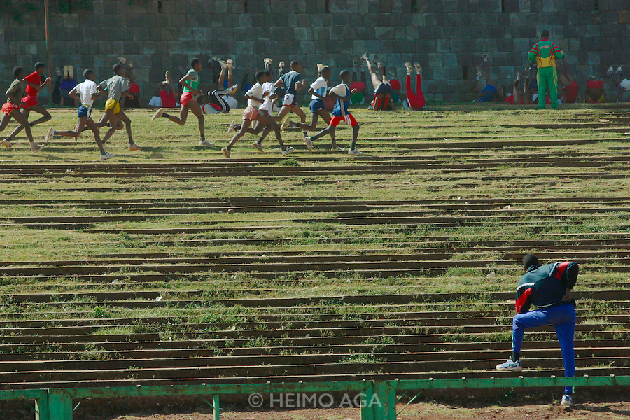 ADDIS ABABA, ETHIOPIA..Meskal Square. Every morning, hundreds of Ethiopian runners - amateurs and professionals alike - train along the terraces surrounding the square..(Photo by Heimo Aga)