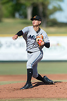 Salt River Rafters starting pitcher Jordan Yamamoto (20), of the Miami Marlins organization, follows through on his delivery during the Arizona Fall League Championship Game against the Peoria Javelinas at Scottsdale Stadium on November 17, 2018 in Scottsdale, Arizona. (Zachary Lucy/Four Seam Images)