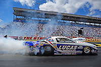 Apr. 1, 2012; Las Vegas, NV, USA: NHRA pro stock driver Larry Morgan during the Summitracing.com Nationals at The Strip in Las Vegas. Mandatory Credit: Mark J. Rebilas-