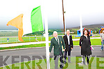 President of John Mitchels Haulie Lynch rasing the Tri-colour at the official opening of John Mitchels GAA Sports Complex on Sunday.
