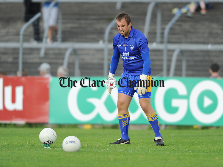 The Clare goalie Joe Hayes before their All-Ireland qualifier game against Kildare in Ennis. Photograph by John Kelly.