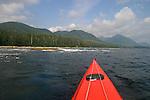 Kayak bow, Vancouver Island, Sea kayaker paddling Brooks Peninsula, Checleset Bay Ecological Preserve, British Columbia, Canada, kayak bow, Mariner II by Mariner Kayaks.