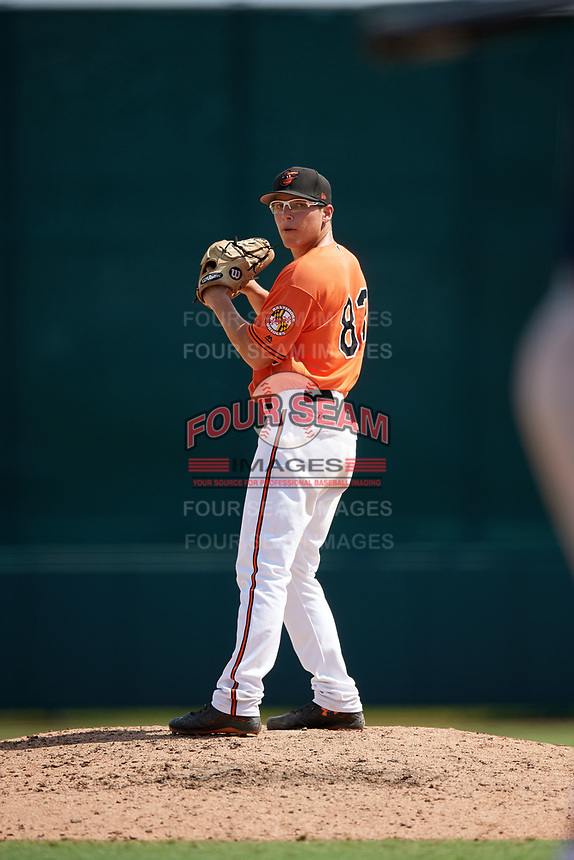 Baltimore Orioles pitcher James Teague (83) gets ready to deliver a pitch during an Instructional League game against the Atlanta Braves on September 25, 2017 at Ed Smith Stadium in Sarasota, Florida.  (Mike Janes/Four Seam Images)