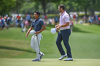 C.T. Pan (TAI) and Jon Rahm (ESP) depart 18 following round 3 of the Fort Worth Invitational, The Colonial, at Fort Worth, Texas, USA. 5/26/2018.<br /> Picture: Golffile | Ken Murray<br /> <br /> All photo usage must carry mandatory copyright credit (&copy; Golffile | Ken Murray)
