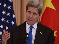 Washington, DC - February 23, 2016: U.S. Secretary of State John Kerry holds a press availability after a bilateral meeting with Chinese Foreign Minster Wang Yi in the Ben Franklin Room of the U.S. Department of State in the District of Columbia, February 23, 2016.  (Photo by Don Baxter/Media Images International)