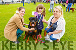 Niamh and Georgina Flanaghan, Samantha Goggin and Tank the dog from Tralee at the dog show in Ballybeggan on Saturday