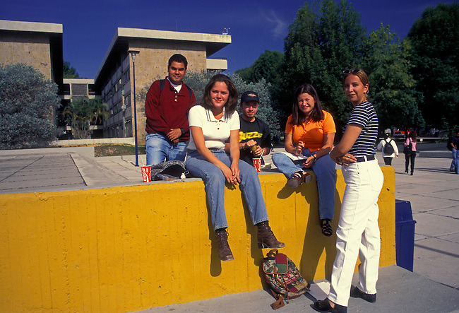 Students on the campus of the University of Guadalajara, Universidad de Guadalajara, Guadalajara, Jalisco State, Mexico