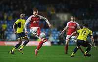 Fleetwood Town's Cian Bolger under pressure from Oxford United's Cameron Brannagan<br /> <br /> Photographer Kevin Barnes/CameraSport<br /> <br /> The EFL Sky Bet League One - Oxford United v Fleetwood Town - Tuesday 10th April 2018 - Kassam Stadium - Oxford<br /> <br /> World Copyright &copy; 2018 CameraSport. All rights reserved. 43 Linden Ave. Countesthorpe. Leicester. England. LE8 5PG - Tel: +44 (0) 116 277 4147 - admin@camerasport.com - www.camerasport.com