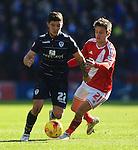 Jelle Vossen of Middlesbrough pressures Alex Mowatt of Leeds - Middlesbrough vs. Leeds United - Skybet Championship - Riverside Stadium - Middlesbrough - 21/02/2015 Pic Philip Oldham/Sportimage