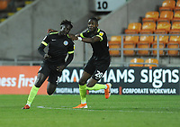 Macclesfield Town's Virgil Gomis celebrates scoring his side's second goal with team-mate Emmanuel Osadebe<br /> <br /> Photographer Kevin Barnes/CameraSport<br /> <br /> The Carabao Cup First Round - Blackpool v Macclesfield Town - Tuesday 13th August 2019 - Bloomfield Road - Blackpool<br />  <br /> World Copyright © 2019 CameraSport. All rights reserved. 43 Linden Ave. Countesthorpe. Leicester. England. LE8 5PG - Tel: +44 (0) 116 277 4147 - admin@camerasport.com - www.camerasport.com