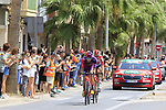 2 man breakaway with Jorge Cubero Galvez (ESP) Burgos-BH and Jelle Wallays (BEL) Lotto-Soudal pass through Almussafes during Stage 4 of La Vuelta 2019 running 175.5km from Cullera to El Puig, Spain. 27th August 2019.<br /> Picture: Eoin Clarke | Cyclefile<br /> <br /> All photos usage must carry mandatory copyright credit (© Cyclefile | Eoin Clarke)
