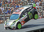 Ken Block (43) driver of the Monster World Rally car, in action during the Global Rally Cross race, the Hoon Kaboom, at Texas Motor Speedway in Fort Worth,Texas. Global Rally Cross driver Marcos Gronholm (3) wins the Hoon Kaboom race..