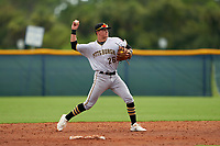 GCL Pirates second baseman Jase Bowen (26) throws to first base during a Gulf Coast League game against the GCL Rays on August 7, 2019 at Charlotte Sports Park in Port Charlotte, Florida.  GCL Rays defeated the GCL Pirates 4-1 in the first game of a doubleheader.  (Mike Janes/Four Seam Images)