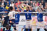 24.02.2019, SAP Arena, Mannheim<br /> Volleyball, DVV-Pokal Finale, VfB Friedrichshafen vs. SVG LŸneburg / Lueneburg<br /> <br /> Angriff Raymond Szeto (#11 Lueneburg) - Block  / Dreierblock Jakub Janouch (#8 Friedrichshafen), Philipp Collin (#9 Friedrichshafen), Athanasios Protopsaltis (#7 Friedrichshafen)<br /> <br />   Foto © nordphoto / Kurth