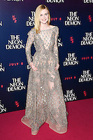 Elle Fanning<br /> arrives for the premiere of &quot;The Neon Demon&quot; at the Picturehouse Central, London.<br /> <br /> <br /> &copy;Ash Knotek  D3125  30/05/2016