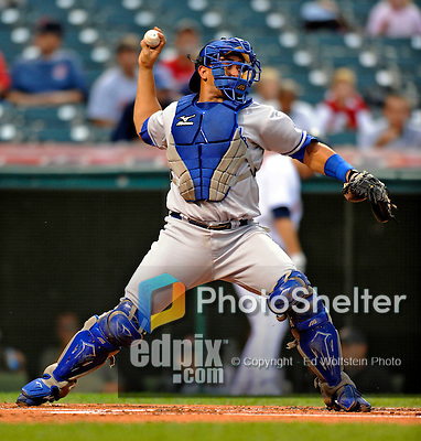 12 September 2008: Kansas City Royals' catcher Miguel Olivo in action against the Cleveland Indians at Progressive Field in Cleveland, Ohio. The Indians defeated the Royals 12-5 in the first game of their 4-game series...Mandatory Photo Credit: Ed Wolfstein Photo