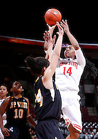 Ohio State Buckeyes guard Ameryst Alston (14) shoots a mid-range jump shot during the second half of the NCAA women's basketball game between the Ohio State Buckeyes and the Appalachian State Mountaineers at Value City Arena in Columbus, Ohio, on Friday, Dec. 20, 2013. The Buckeyes overcame a 21-18 deficit at the half to defeat the Mountaineers 52-38.  (Columbus Dispatch/Sam Greene)