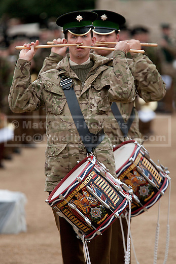 12/06/2012. LONDON, UK. The Massed Bands of the British Army's Household Division carry out a dress rehearsal ahead of the annual Beating Retreat ceremony in London today (12/06/12). Photo credit: Matt Cetti-Roberts