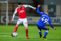 Fleetwood Town's Bobby Grant wrong foots Leicester City U21s' Kiernan Dewsbury-Hall <br /> <br /> Photographer Alex Dodd/CameraSport<br /> <br /> The EFL Checkatrade Trophy - Northern Group B - Fleetwood Town v Leicester City U21 - Tuesday September 11th 2018 - Highbury Stadium - Fleetwood<br />  <br /> World Copyright &copy; 2018 CameraSport. All rights reserved. 43 Linden Ave. Countesthorpe. Leicester. England. LE8 5PG - Tel: +44 (0) 116 277 4147 - admin@camerasport.com - www.camerasport.com
