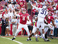TCU Horned Frogs vs Arkansas Razorbacks –Austin Allen (8) of Razobacks attempts to pass the ball as Ridwan Issahaku (31) trys to block the pass at Donald W. Reynolds Razorback Stadium, University of Arkansas,  Fayetteville, AR, on Saturday, September 9, 2017,  © 2017 David Beach