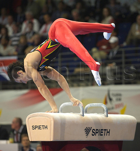 07.04.2011 European Championships Artistic Gymnastics Max Schmeling Hall Berlin. Picture shows Marcel Nguyen ger on the pommel.