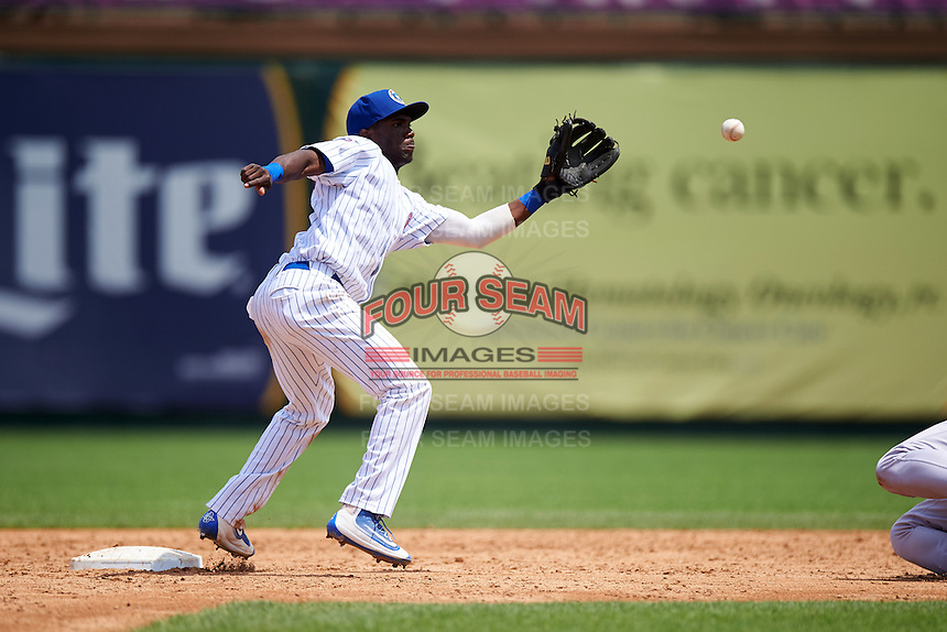South Bend Cubs shortstop Andruw Monasterio (6) waits for a throw during the first game of a doubleheader against the Peoria Chiefs on July 25, 2016 at Four Winds Field in South Bend, Indiana.  South Bend defeated Peoria 9-8.  (Mike Janes/Four Seam Images)