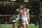 Dan Tuohy and Rob Herring celebrate another Ulster try..RaboDirect Pro12.Cardiff Blues v Ulster Rugby.Cardiff Arms Park.28.09.12.©Steve Pope
