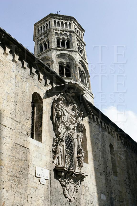 La chiesa e il campanile di San Donato a Genova.<br /> The church and the bell tower of San Donato, in Genoa.<br /> UPDATE IMAGES PRESS/Riccardo De Luca