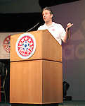 "Jon Stewart, host of Comedy Central's ""The Daily Show"" makes some humorous remarks after being awarded the NSCAA's Honorary All-America for 2005 honor on Saturday, January 21st, 2006, during the National Soccer Coaches Association of America's annual convention in the Grand Ballroom of the Pennsylvania Convention Center in Philadelphia, PA."