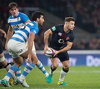 Twickenham, United Kingdom. Danny CARE , looking to make a pass at, during the Old Mutual Wealth Series Rest Match: England vs Argentina, at the RFU Stadium, Twickenham, England, <br /> <br /> Saturday  26/11/2016<br /> <br /> [Mandatory Credit; Peter Spurrier/Intersport-images]