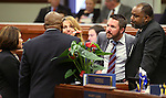 Nevada Assembly Democrats, from left, Teresa Benitez-Thompson, William Horne, Marilyn Kirkpatrick, David Bobzien and Jason Frierson work on the Assembly floor during the final hours of the 77th Legislative session at the Legislative Building in Carson City, Nev., on Monday, June 3, 2013. <br /> Photo by Cathleen Allison