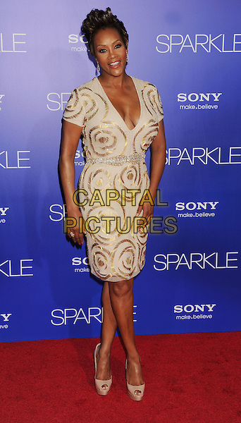 "Vivica A. Fox.arriving at the Los Angeles premiere of ""Sparkle"" at Grauman's Chinese Theatre in Hollywood, California, USa, .August 16th, 2012..full length cream gold nude shoes dress patterned .CAP/ROT/TM.©Tony Michaels/Roth Stock/Capital Pictures"