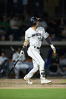 Jett Manning (13) of the Augusta GreenJackets follows through on his swing against the Kannapolis Intimidators at SRG Park on July 6, 2019 in North Augusta, South Carolina. The Intimidators defeated the GreenJackets 9-5. (Brian Westerholt/Four Seam Images)