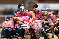 Exeter Chiefs forwards in action at a maul. Anglo-Welsh Cup Final, between Bath Rugby and Exeter Chiefs on March 30, 2018 at Kingsholm Stadium in Gloucester, England. Photo by: Patrick Khachfe / Onside Images