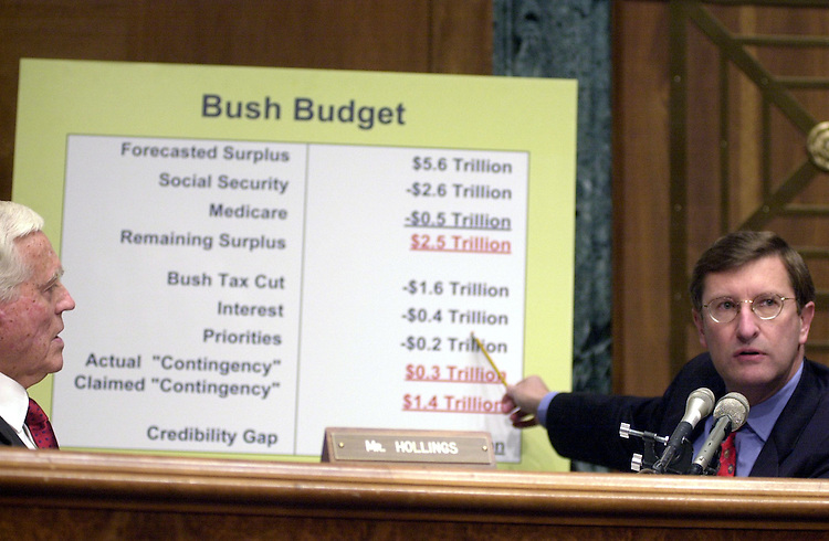 budget030101 --Sen. Kent Conrad, D-ND, points out holes in the Presidens Fiscal Year budget plan at a Budget Full committee hearing.
