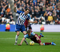 1st February 2020; London Stadium, London, England; English Premier League Football, West Ham United versus Brighton and Hove Albion; Tomas Soucek of West Ham United is fouled by Dale Stephens of Brighton and Hove Albion