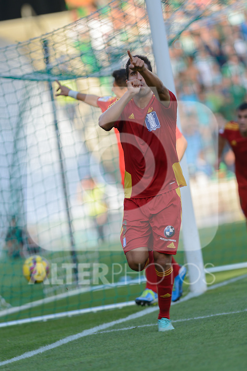 Huelva's Montoro celebs his goal durig the match between Real Betis and Recreativo de Huelva day 10 of the spanish Adelante League 2014-2015 014-2015 played at the Benito Villamarin stadium of Seville. (PHOTO: CARLOS BOUZA / BOUZA PRESS / ALTER PHOTOS)