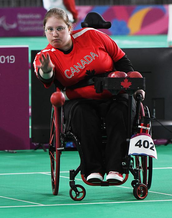 Alison Levine competes in Boccia at the 2019 ParaPan American Games in Lima, Peru-29aug2019-Photo Scott Grant