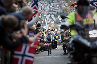 Nelson Oliveira (POR/Movistar) up Mount Fløyen<br /> <br /> Men Elite Individual Time Trial<br /> <br /> UCI 2017 Road World Championships - Bergen/Norway