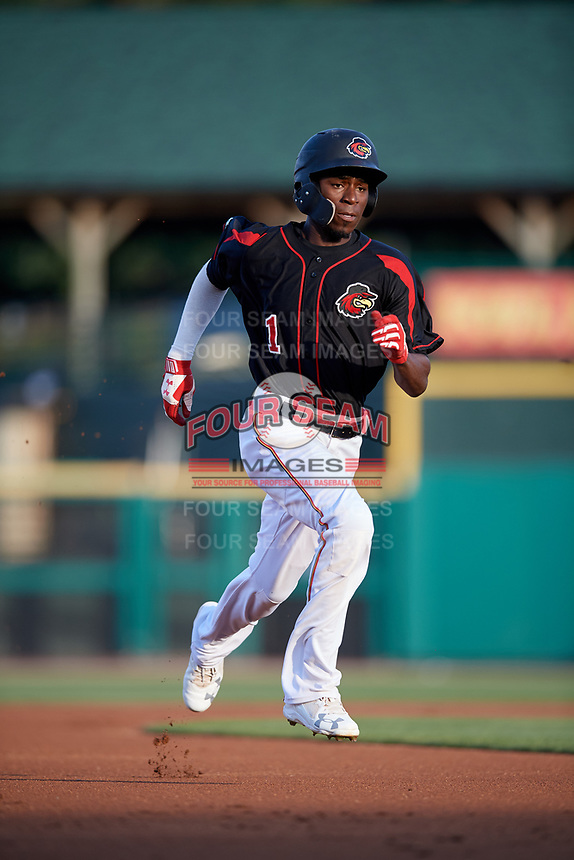 Rochester Red Wings shortstop Nick Gordon (1) runs the bases during a game against the Lehigh Valley IronPigs on September 1, 2018 at Frontier Field in Rochester, New York.  Lehigh Valley defeated Rochester 2-1.  (Mike Janes/Four Seam Images)